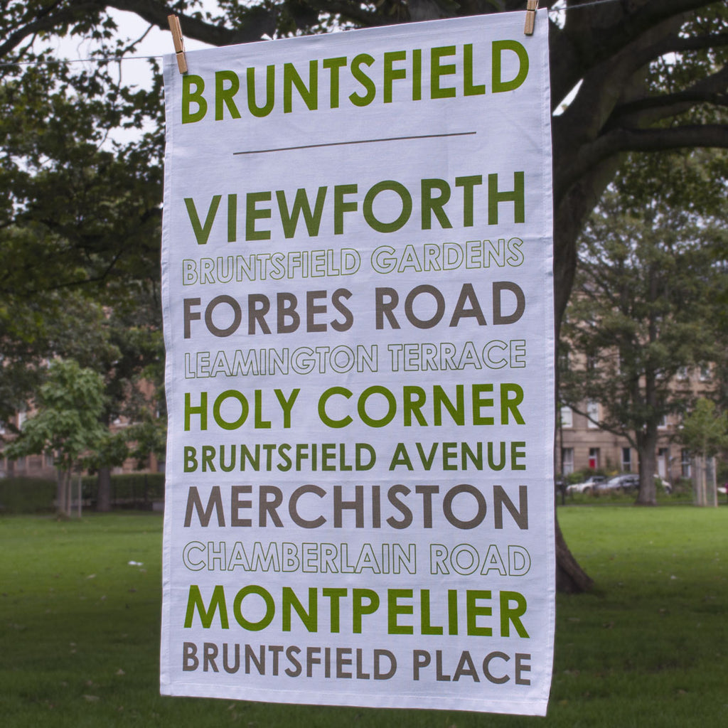 Full view of Bruntsfield tea towel