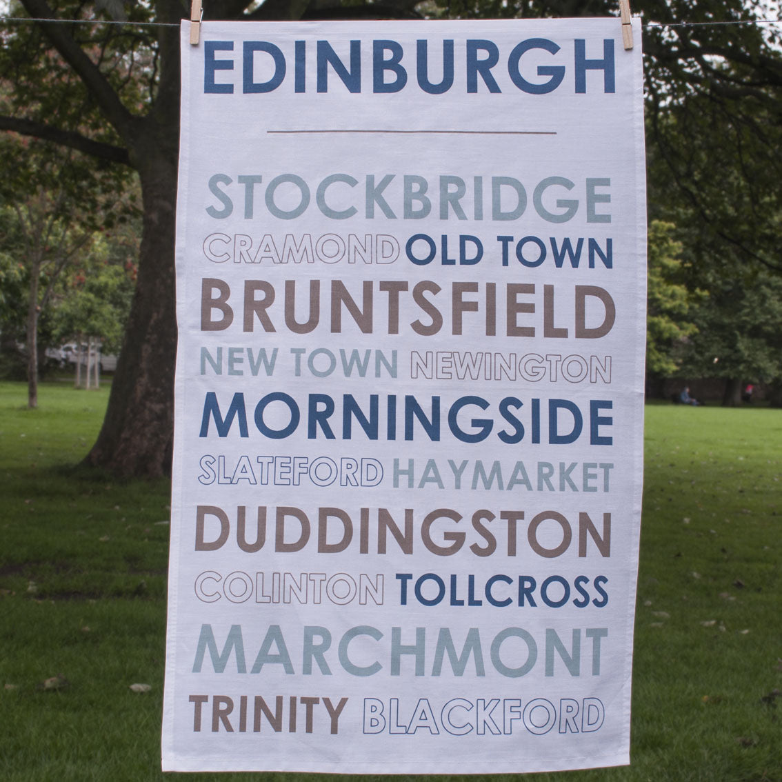 Full view of Edinburgh tea towel