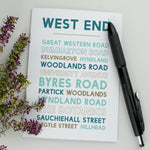Glasgow West End notebook Scottish gift