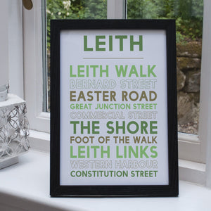 Leith Print black frame Edinburgh gift
