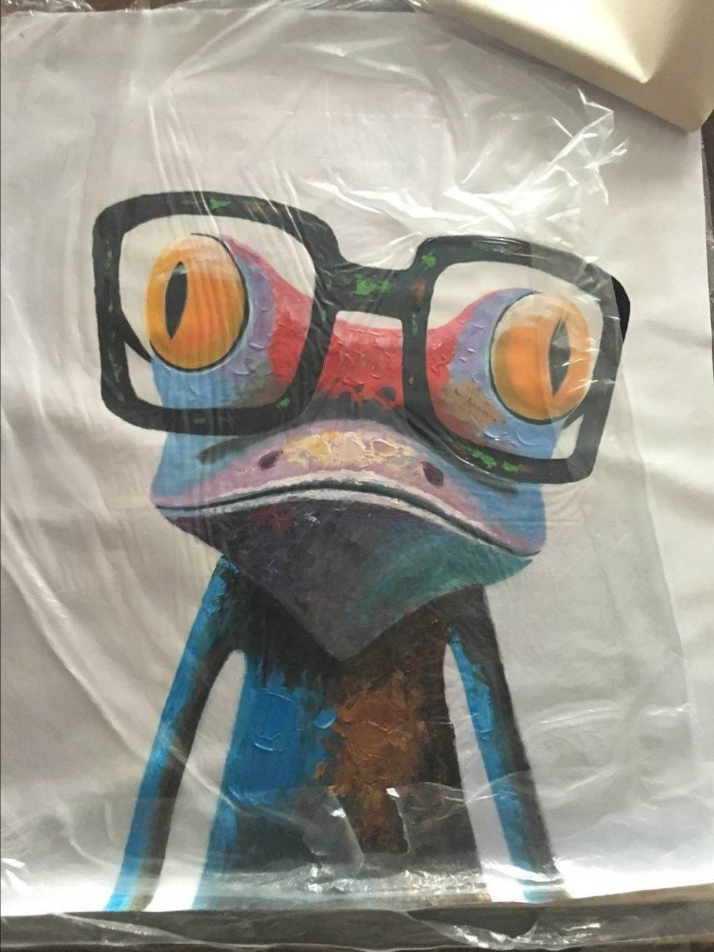 big glasses frog wall handmade painting front view