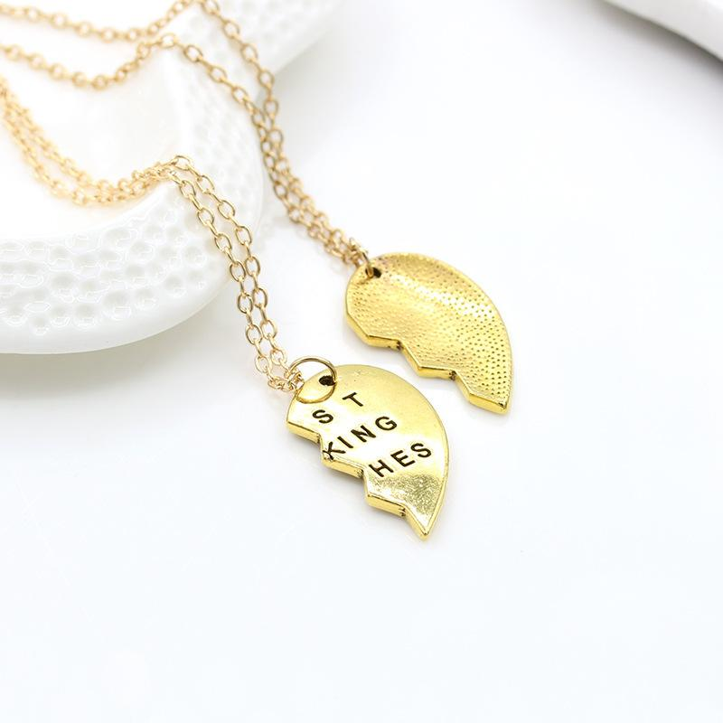 half gold heart on hand bfb necklace