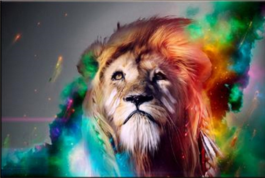 Large Special Colorful Lion Head Painting Prints on Canvas for Home Decor