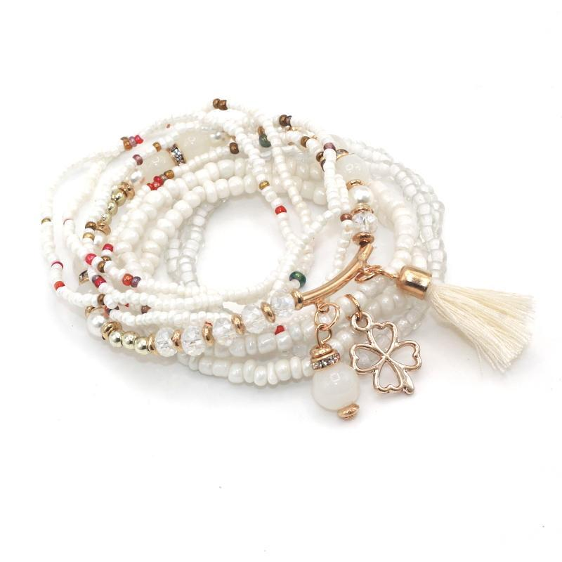 Love & Freedom Multilayer Beeds Bracelet white top view