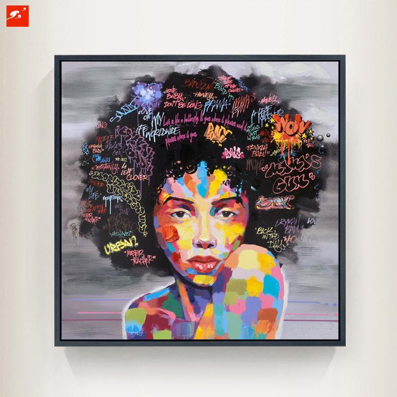 wall art afro woman painting eyes open front view