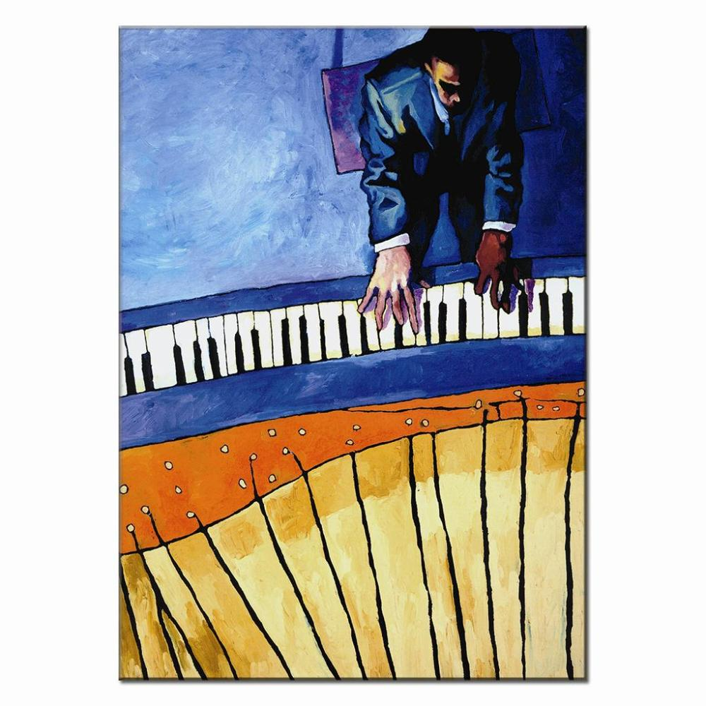 Abstract Pianist Playing The Piano Painting Prints On Canvas Retro Europe Figures Wall Art