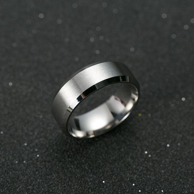 titanium silver ring top view round