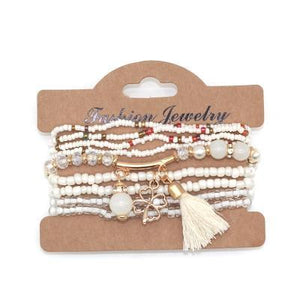 Love & Freedom Multilayer Beeds Bracelet white side view