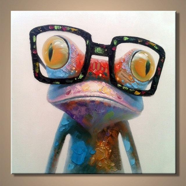 big glasses frog wall painting front view canvas