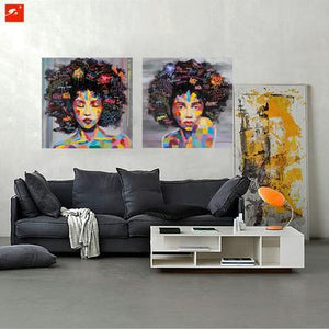 eyes closed and open afro woman wall painting