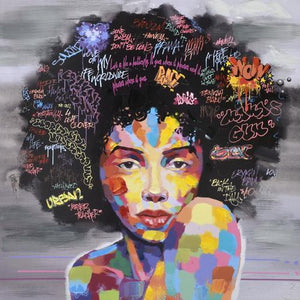 wall art afro woman painting