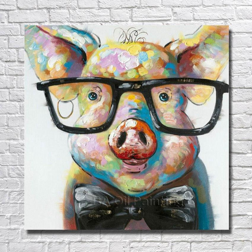 Pig wearing glasses painting canvas