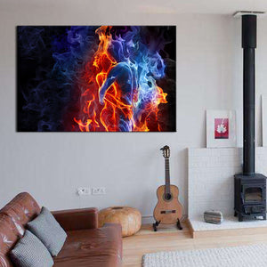 Flaming Lovers Canvas Print Picture Blue Red Abstract