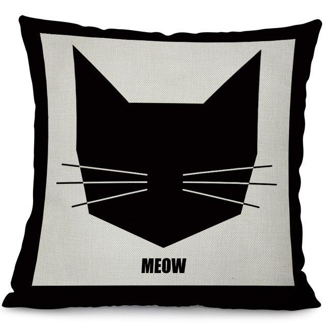 Meow black text black cat face white pillow case cover