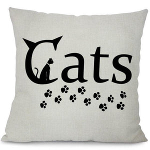 cats text pillow case white and black
