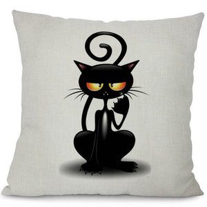 chill black cat white pillow case