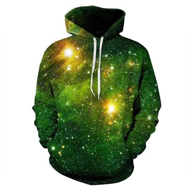 green galaxy hoodie front