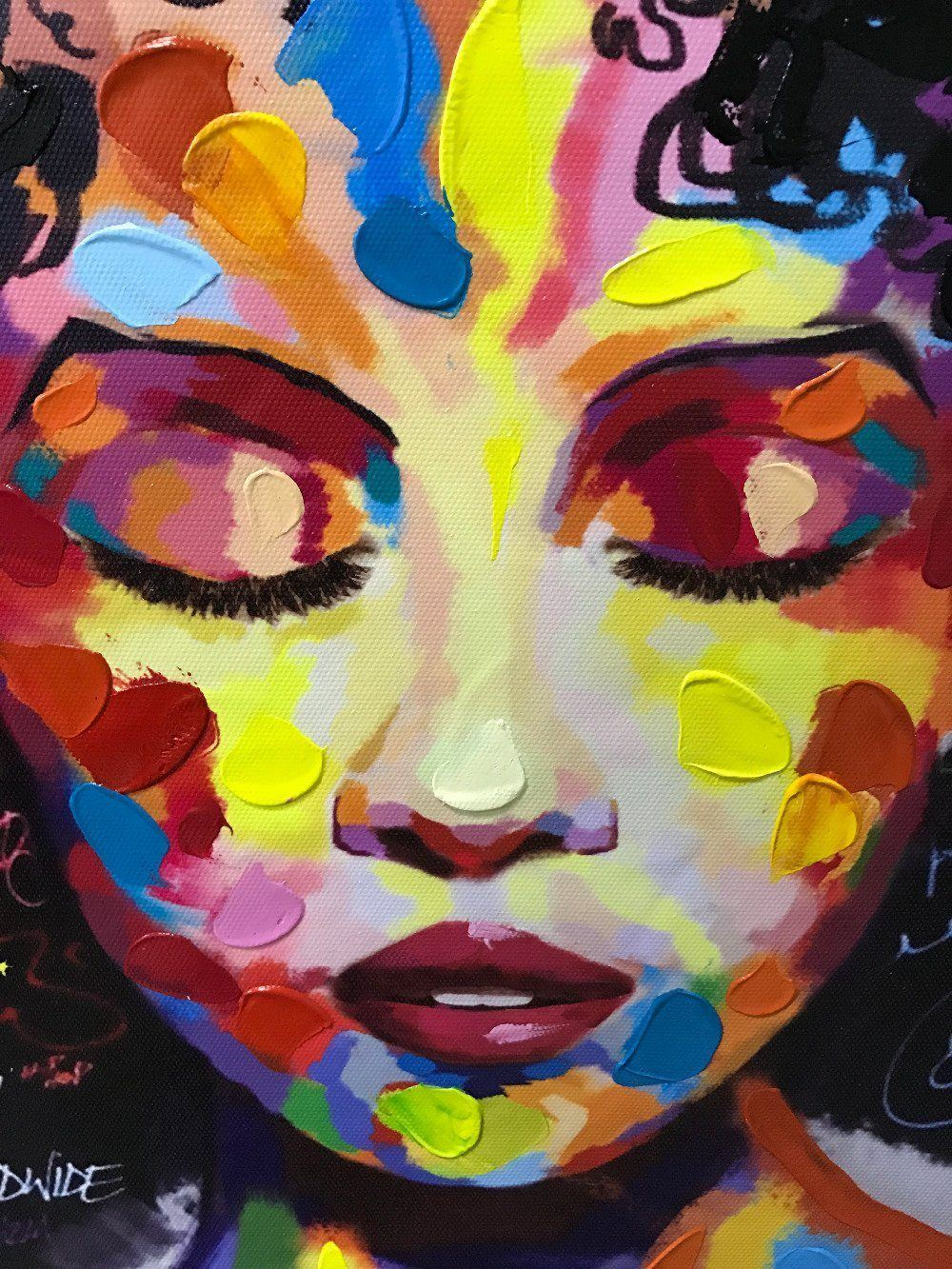 wall art afro woman painting eyes closed front view