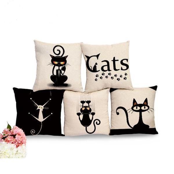 Spooky Black Cat Pillow Cover Set collection