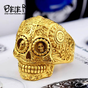 warrior skull ring full gold