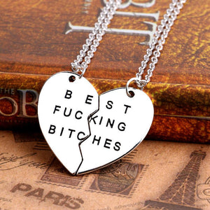 Best fucking bitch silver heart necklace top view
