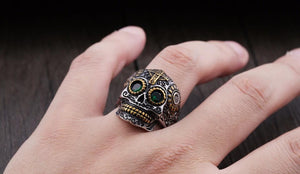 warrior skull ring black on hand