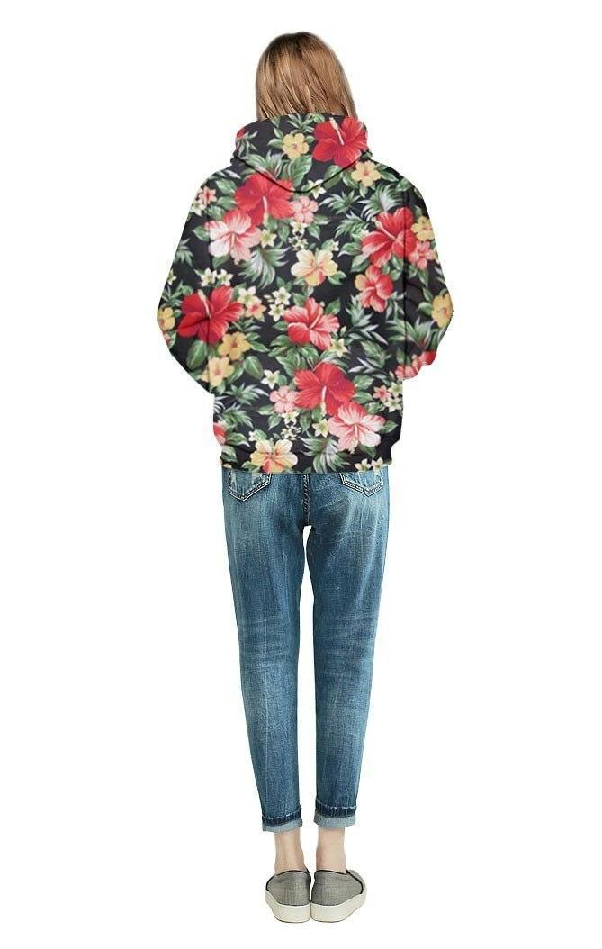 Unique Print Flower Hoodie girl back view