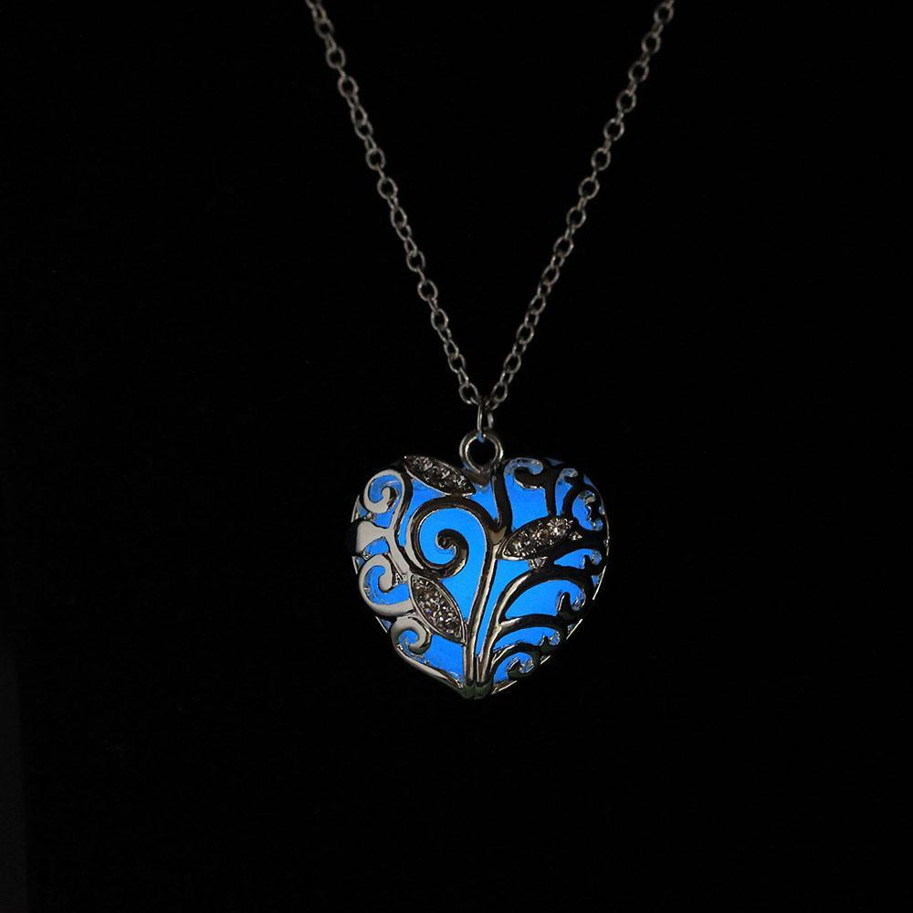 glow in the dark heart necklace  light blue