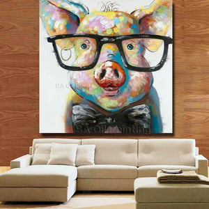 Pig wearing glasses painting canvas living room view