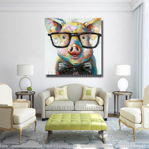 Pig wearing glasses painting canvas living room