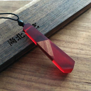 crystal wood pendant red
