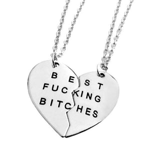 Best fucking bitch silver heart necklace