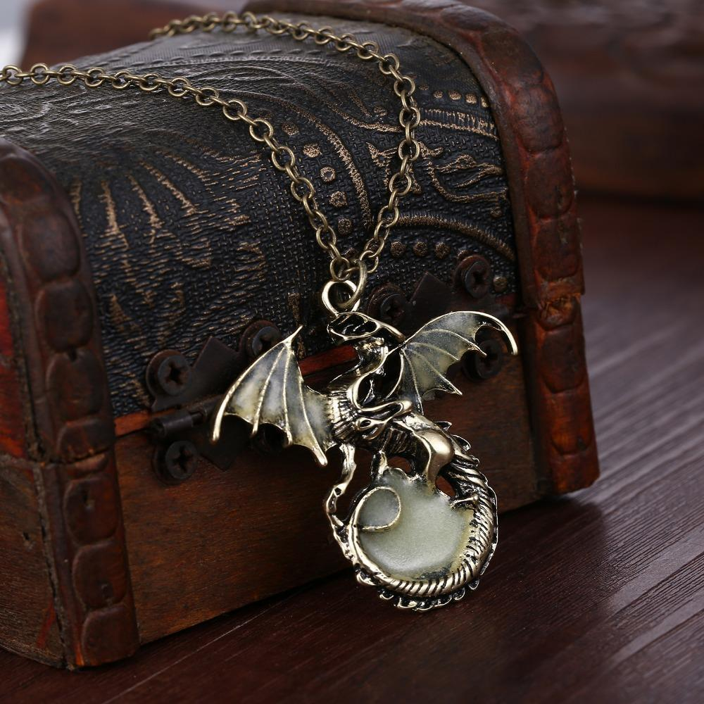 dragon pendant glow in the dark treasure chest