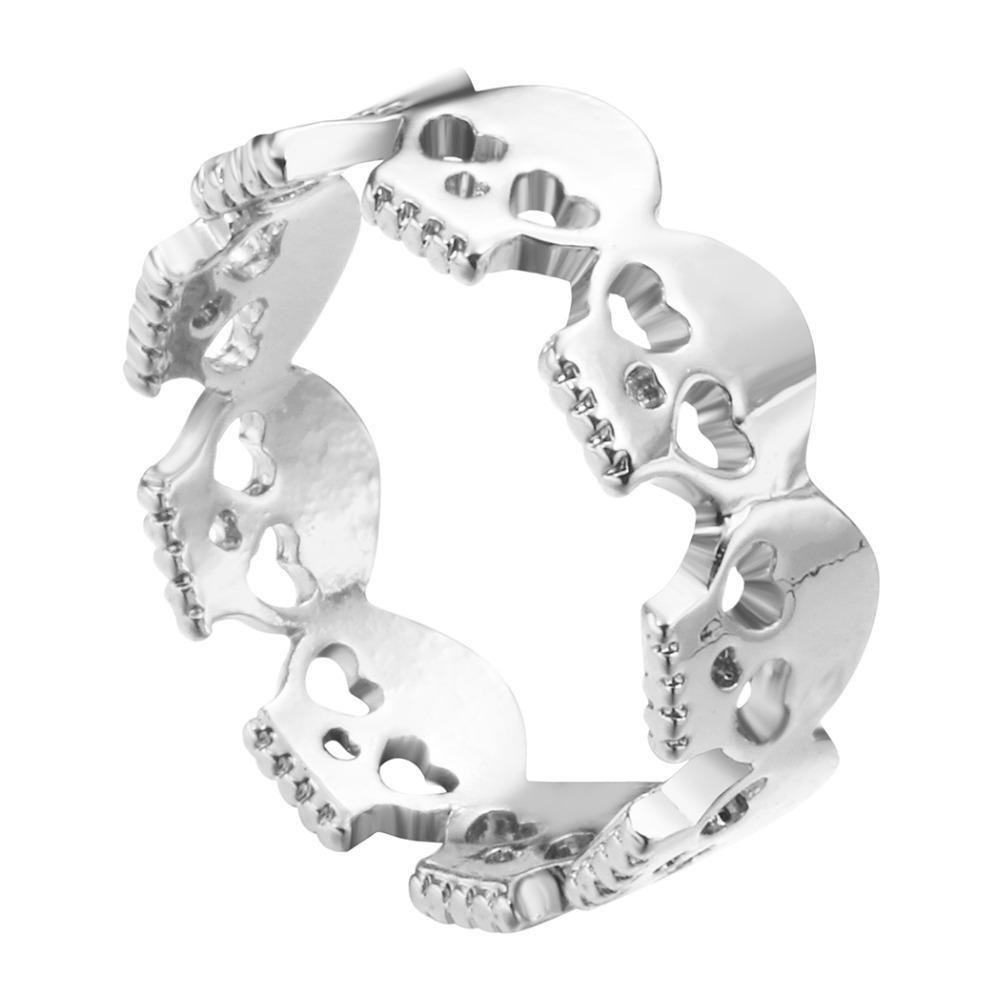 Cute Skull Ring Silver side view