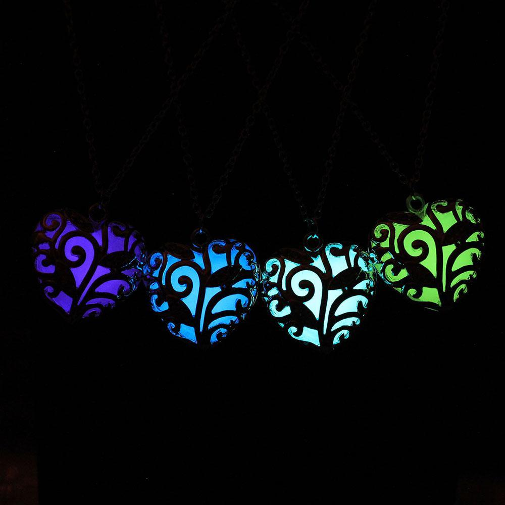 glow in the dark heart necklace collection