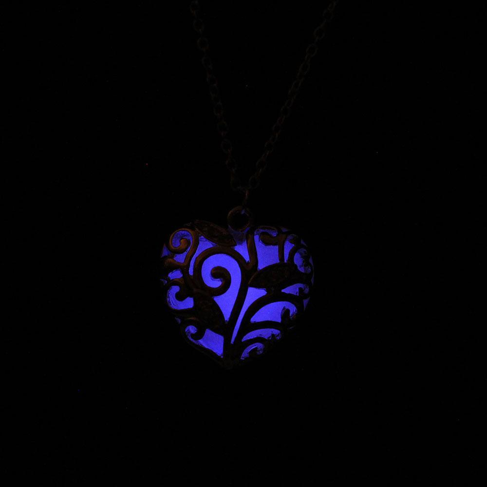 glow in the dark heart necklace  blue that glows
