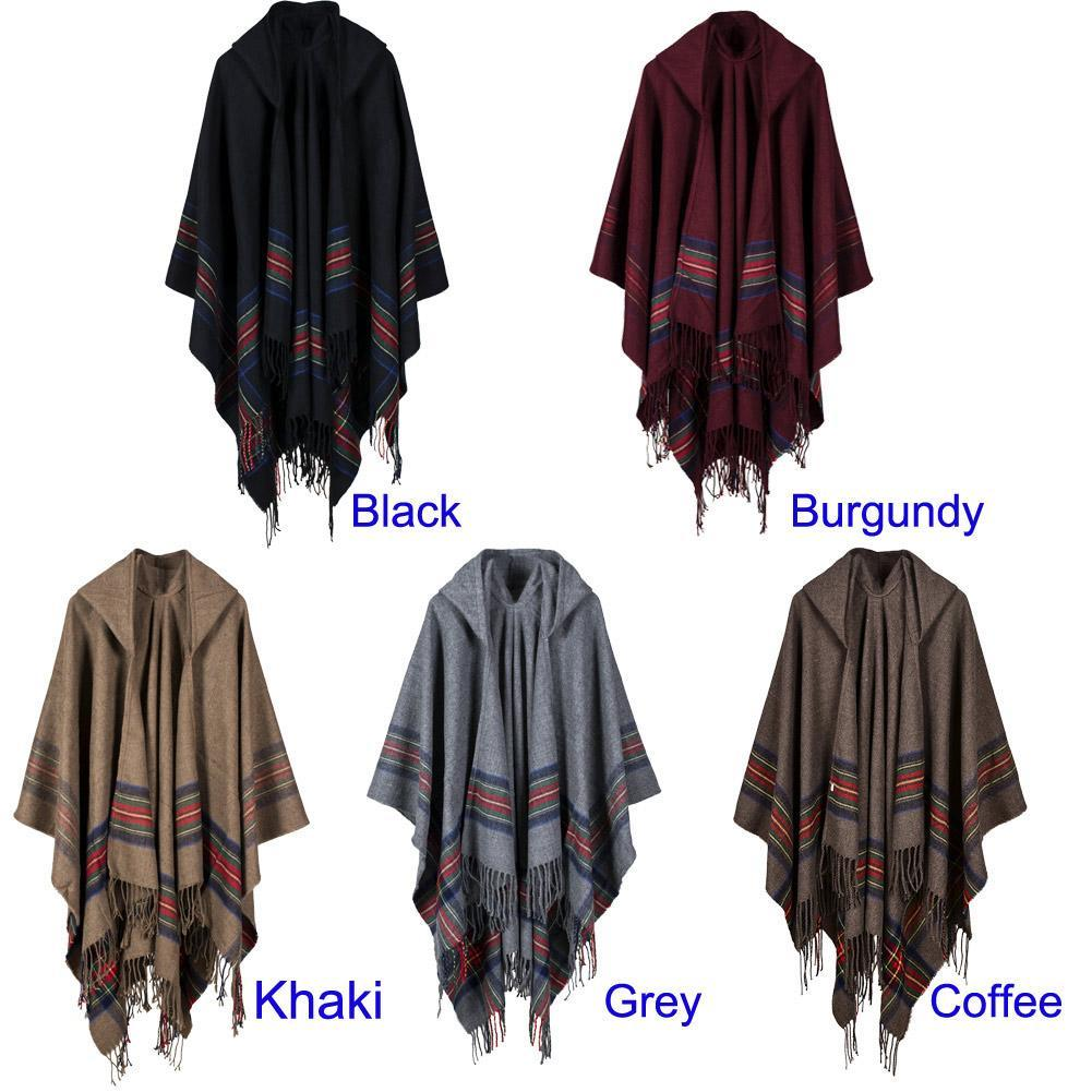 Hooded Striped  Poncho