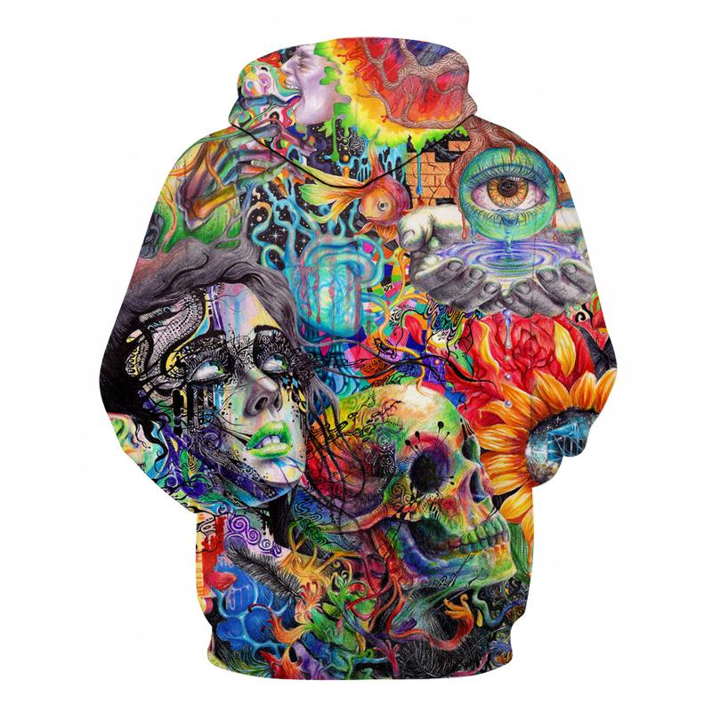 Skull of despair hoodie color man flower red blue orange