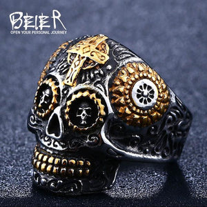 warrior skull ring part gold