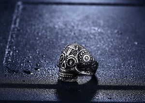 warrior skull ring black