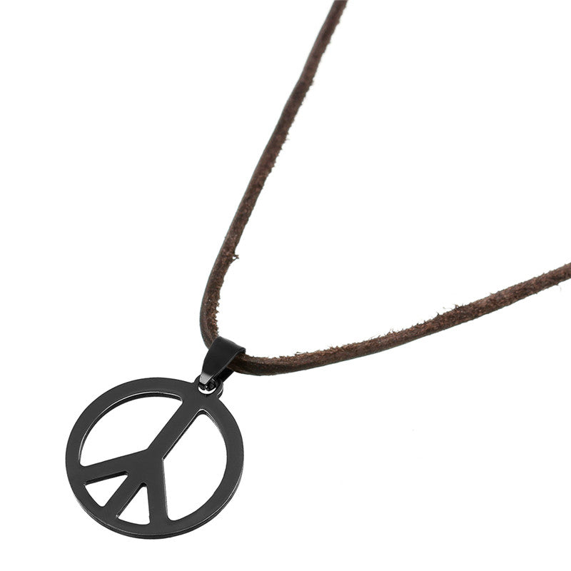 Black Stainless Steel Titanio Peace Necklace