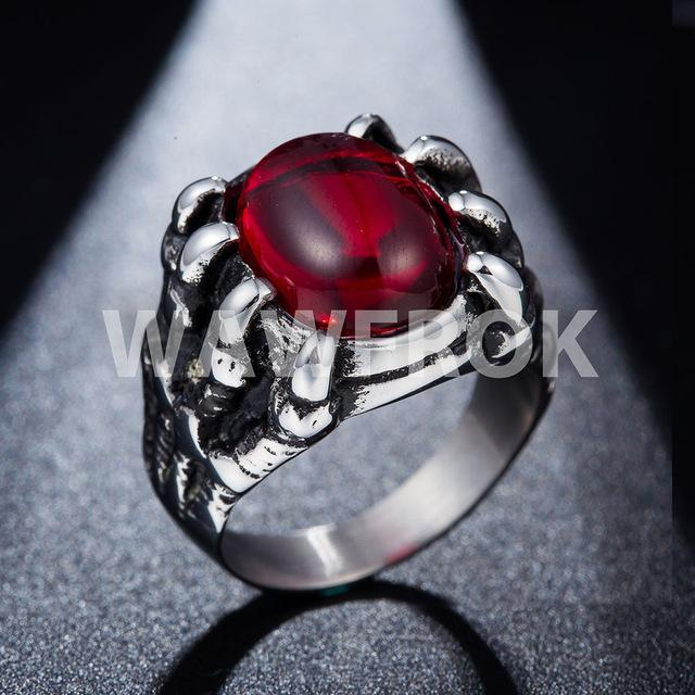 blood claw ring red side view