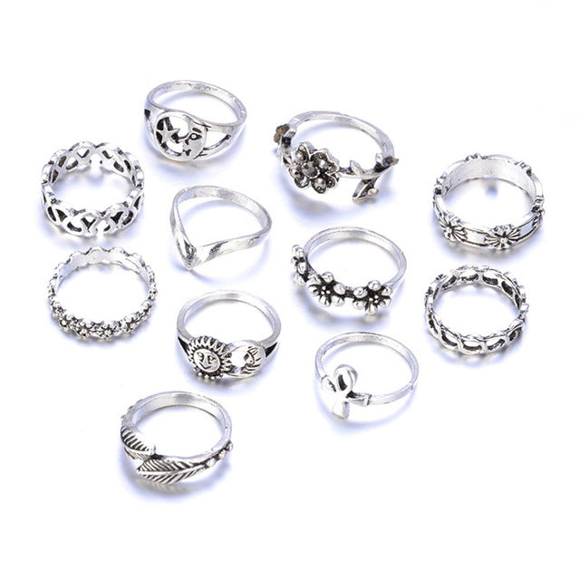 11 Piece Women Knuckle Rings Retro Carving Flowers Set
