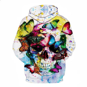 white hoodie skull butterfly color