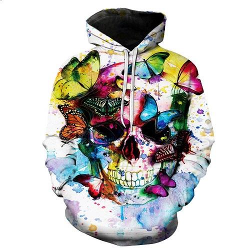white skull butterfly red yellow blue purple hoodie