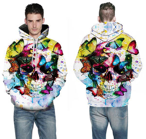 skull butterfly skull men  wear color hoodie