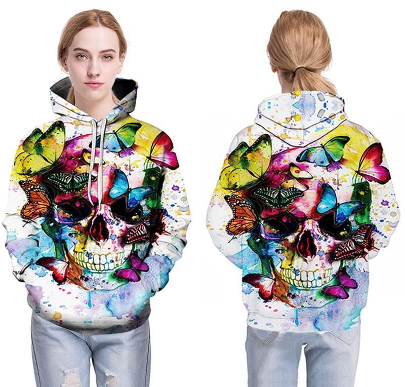 butterfly skull colorful women wear white hoodie