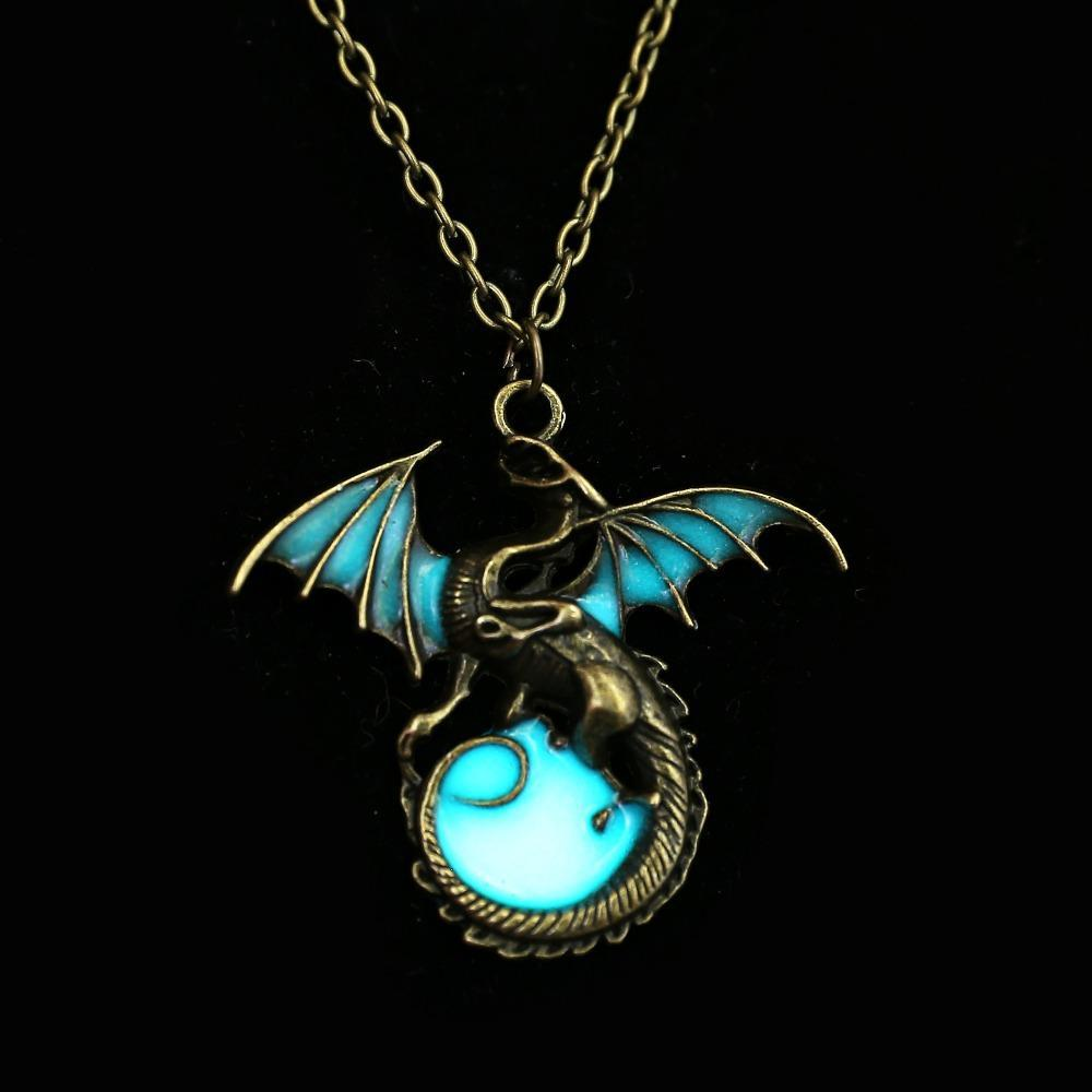 ligh blue dragon pendant glow