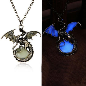 dragon pendant glow in the dark blue