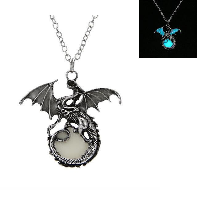 white dragon pendant glow in the dark